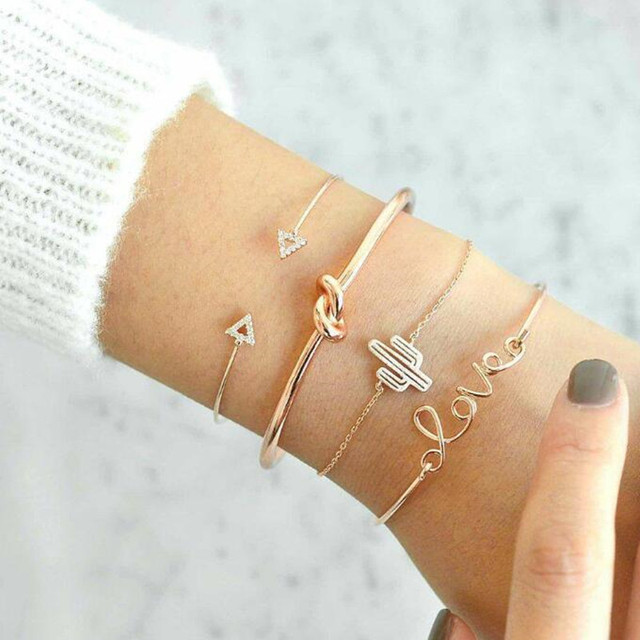 DIEZI 4PCS/Set Retro  Knotted Cactus Triangle Charm Chain Bracelets for Women Fashion Gold Chain Bracelets Bangles Jewelry