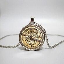 Round Gear Pendant Necklace Charm Steampunk Style Pattern Glass Handmade Custom