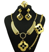 Jewelry Sets Necklace Earrings Bracelet Ring Set For Women Wedding Bridal Gold Plated Imitation Crystal Party Accessories