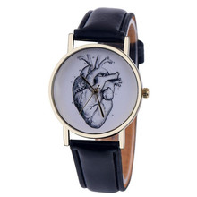Womens Quartz Watches 1 PC Creative Heart Pattern Analog Wrist Watch Simple PU Leather Band Watches for Couples Wholesale 30M17