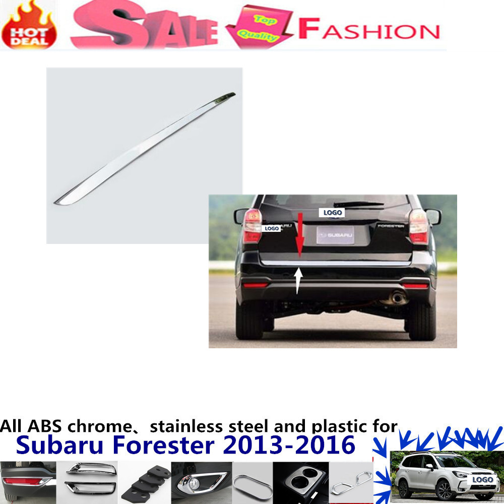 For subaru Forester 2013-2016 car body styling cover stainless steel Rear door trunk bottom Tailgate frame plate trim frame 1pcs  stainless steel side door molding trim cover for 2013 up subaru forester