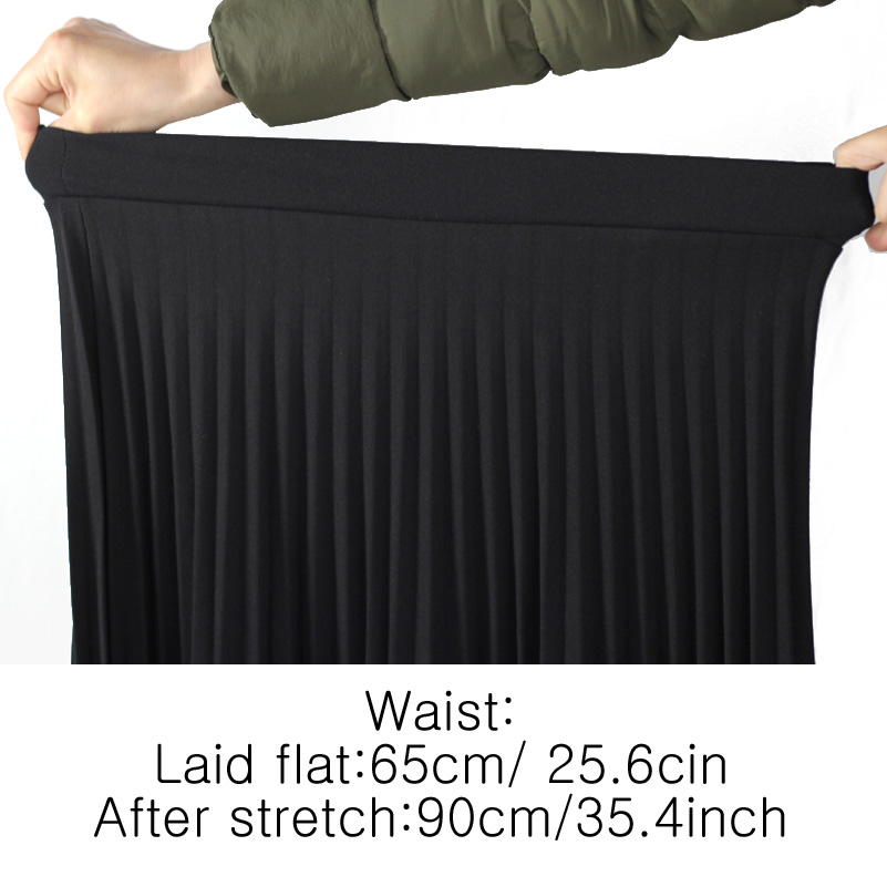 Women Fashion High Waist Pleated Solid Color Ankle Length Skirt All-match Chiffon Clothing Lady Casual Stretchy Thicken Skirts #6