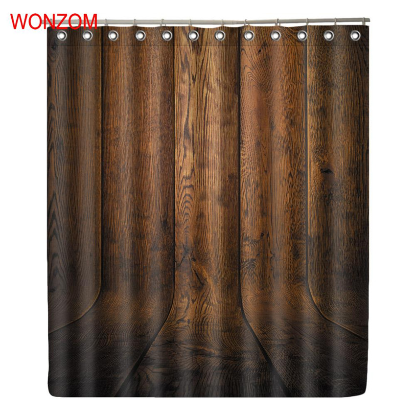 WONZOM Wood Grain Polyester Fabric Curtains with 12 Hooks For Bathroom Decor Modern Bath Waterproof Curtain Accessories