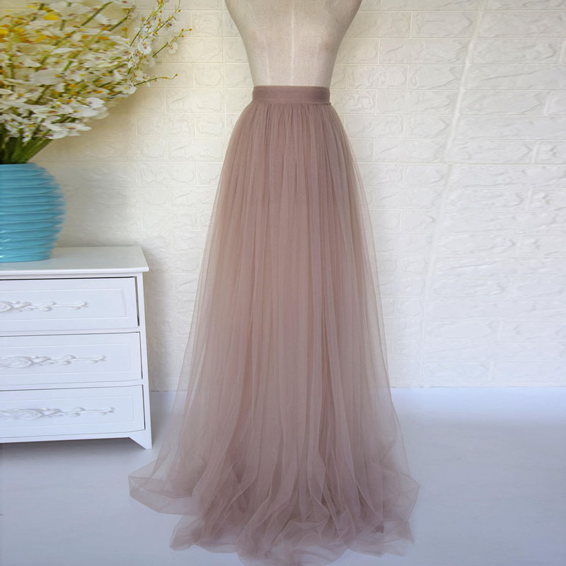 Dusty Pink 4 Layers Tulle Tutu Skirt High Quality Swiss Solf Tulle Full Length Maxi Long Skirts Womens Bridal Bridesmaid Skirt