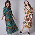 2017 Spring Summer Maternity Clothes Women's Vintage O-neck Loose Linen Pregnancy Dresses Plus Size Fluid Print Large Size CE442