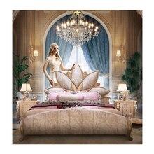 Роскошный комплект мебели для спальни king size классический новейший Золотой Деревянный кожаный дизайн кровати набор мебели роскошная кровать