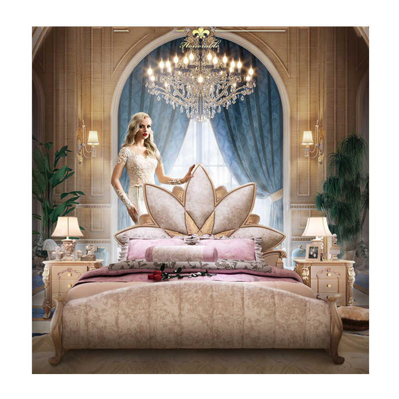 luxury bedroom furniture set king size classic latest gold wooden leather bed designs furniture set luxury bed