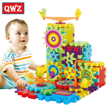 QWZ 81 шт. электрические шестерни 3D головоломки строительные наборы пластиковые кирпичи развивающие игрушки для детей Рождественский подарок