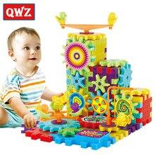 QWZ 81 pièces engrenages électriques 3D Puzzle Kits de construction briques en plastique jouets éducatifs pour enfants jouets pour enfants cadeau de noël