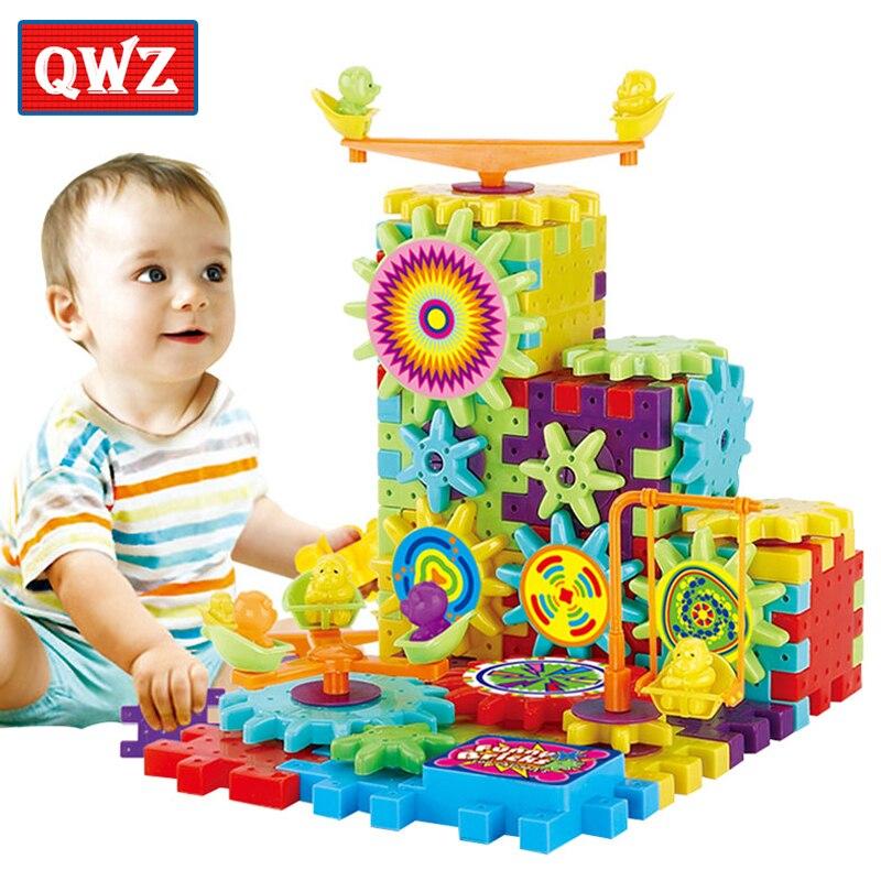 QWZ 81 piezas engranajes eléctricos juegos de construcción de rompecabezas 3D ladrillos de plástico juguetes educativos para niños juguetes para niños regalo de Navidad