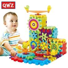 QWZ 81 قطع التروس الكهربائية ثلاثية الأبعاد لغز بناء مجموعات الطوب البلاستيك ألعاب تعليمية للأطفال لعب للأطفال هدية الكريسماس