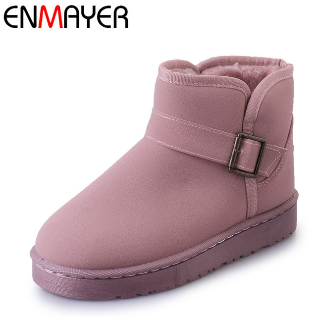 ba7037a9 ENMAYER Invierno Botas Mujeres Hebilla Zapatos Planos de la Mujer Slip-on  Botas de Nieve