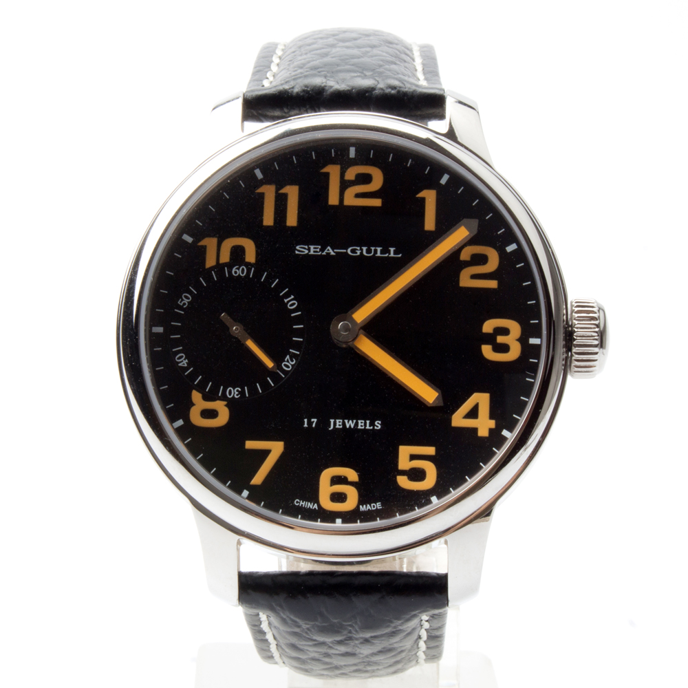 Seagull Genuine Leather Band PVD With Stainless Steel Black Dial Orange Numerals Mechanical Men's Watch Sea-gull M222S blackhawk field operator watch with black numerals