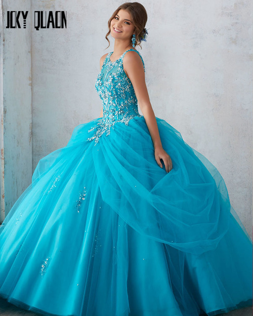 Joky Quaon Scoop Neck Bling Crystal Beaded Open Back Pink Sky Blue Tulle Ball Gown Quinceanera Dresses Vestido De 15 Anos Curto