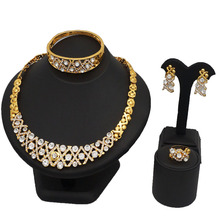 gold jewelry sets wholesale price with good quality crystal wedding necklace big Rhinestone set