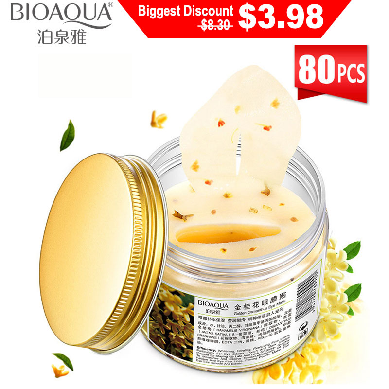 BIOAQUA Gold Osmanthus Eye Pathces 80 Pcs Bottle Mask for the Face Collagen Gel Whey Protein Sleep Remover Dark Circle Eye Care(China)