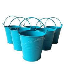 wholesale 50pcslot d75h75cm cheap metal buckets party favors candy tub tin box small pails flower pot for wedding gifts