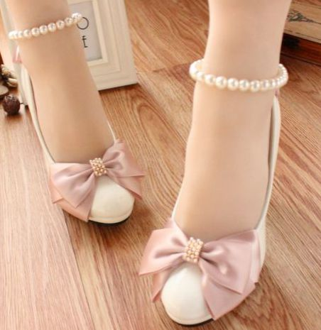 ФОТО Fashion new design wedding/party pumps shoes for women TG011 low high heels, hand made lady girl's flower bowtie pump discount