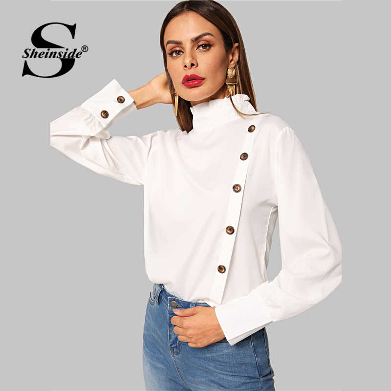 619040d3f ... Sheinside Ruffle Turtleneck White Blouse Women Single Breasted Long  Sleeve Top 2019 Casual Ladies Shirts Womens ...