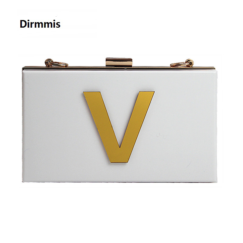 New Wallet Gold Letters Brand Fashion Evening Bag Elegant White Acrylic Shoulder Bag Cute Handbag Party Prom Casual Chain Clutch