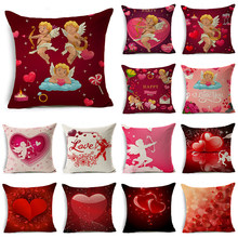 WZH Love and Cupid elements Cushion Cover 45x45cm Linen Decorative Pillow Cover Sofa Bed Pillow Case(China)