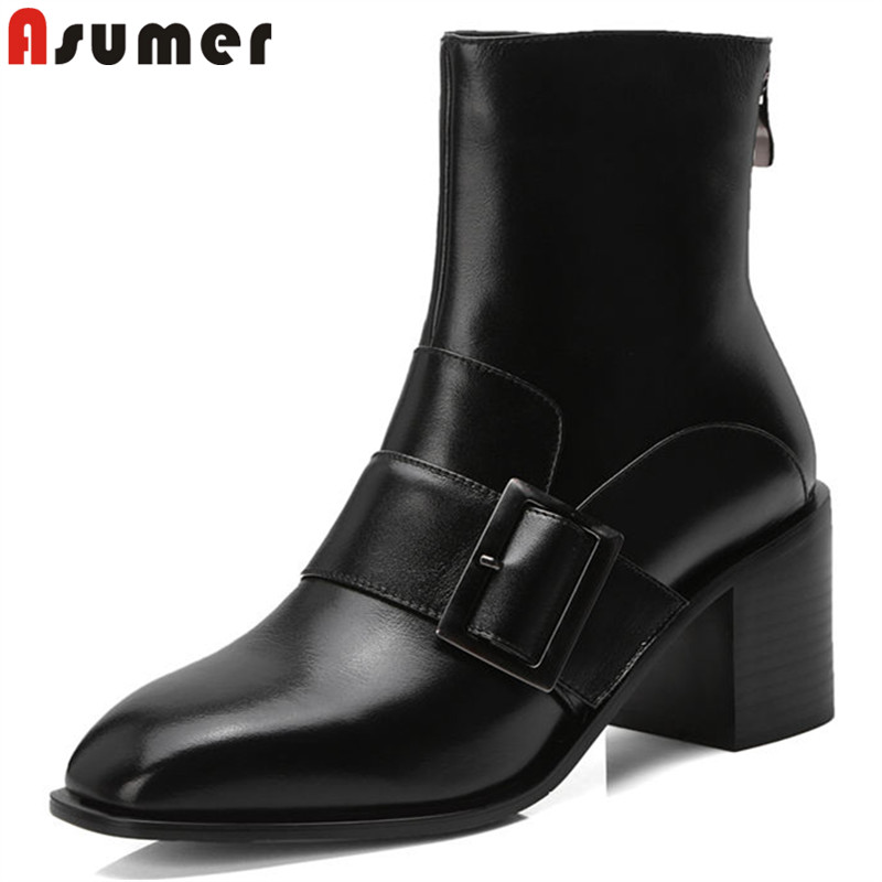 ASUMER 2018 new arrival shoes woman square toe ankle boots zip buckle genuine leather boots square heel boots women black maliparmi куртка