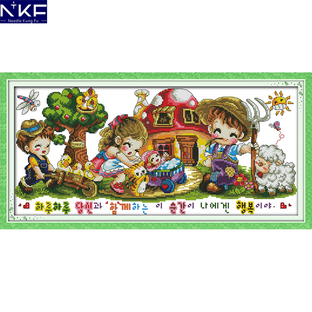 NKF Happy Farm Counted Or Stamped Cross Stitch 11CT14CT DIY Kits Needlework Embroidery Cartoon Cross Stitch Sets For Kids