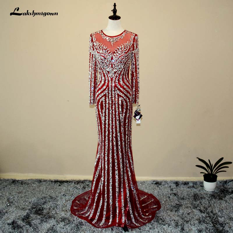 Luxury Long Sleeves Mermaid Tulle Evening Dress Sexy Sequined Beading Burgundy Party Evening Dress