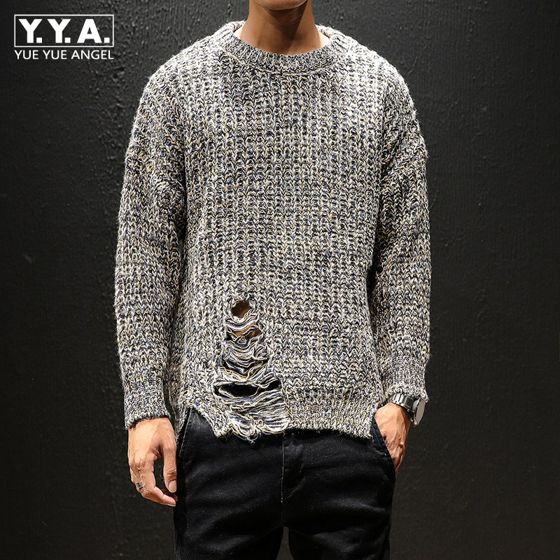 High Street Autumn Sweater Men Japan Style Vintage O-Neck Hollow Out Casual College Knitting Sweaters Solid Color Plus Size 5XL