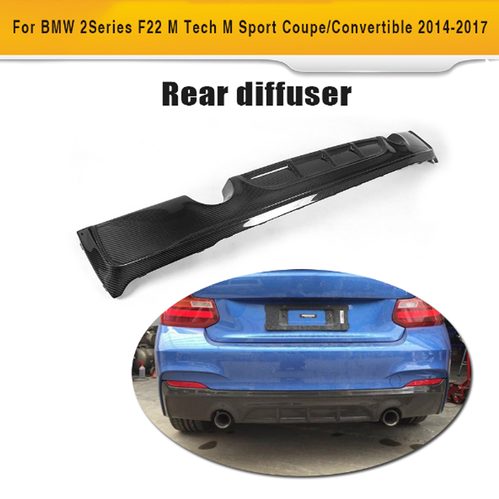 2 Series carbon fiber car rear bumper lip spoiler diffuser for BMW F22 M Sport Coupe Only 14-17 Convertible 230i 235i Black FRP