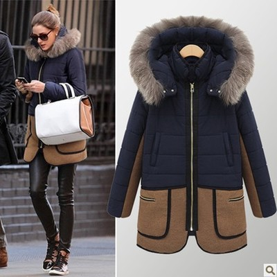 ФОТО winter jacket women The new winter 2016 women's fur collar pocket long section down jacket coat Patchwork color coat