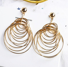 Fashionable temperament, big earrings, exaggerated personality, geometric round for the women earrings, sexy fashion accessories personality exaggerated fashionable with diamond crystal earrings