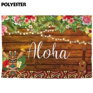 Image 4 - Allenjoy fondo de fotografía Aloha tiki luau fiesta cumpleaños niño madera flor tropical telón de fondo cabina de estudio fotográfico