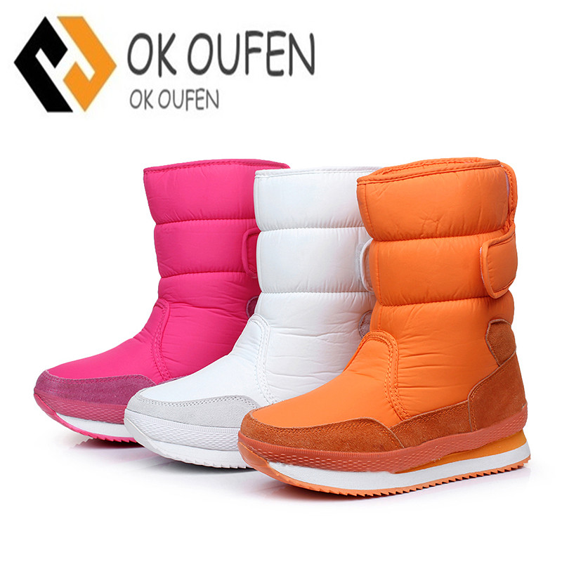 2017 Women Winter Boots Waterproof Snow Shoes Black Autumn Women Mid Calf Boots Female T ...