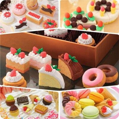 Kawaii Cute Erasers For Kids Novelty Gift Items Cake Biscuit Food Eraser Set