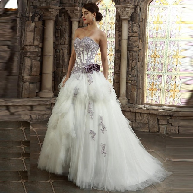 Wedding Dress 2018 SoDigne High Quality Sweetheart Lace Applique Vestido De Noiva Lace Up A Line Beaded Flowers Bridal Gown
