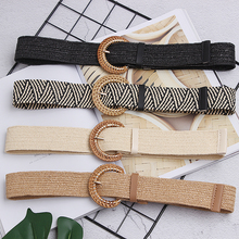 New Vintage Knitted Wax Rope Wooden Bead Waist Women Smooth Buckle Belt Woman Woven Female Hand-Beaded Braided BZ74