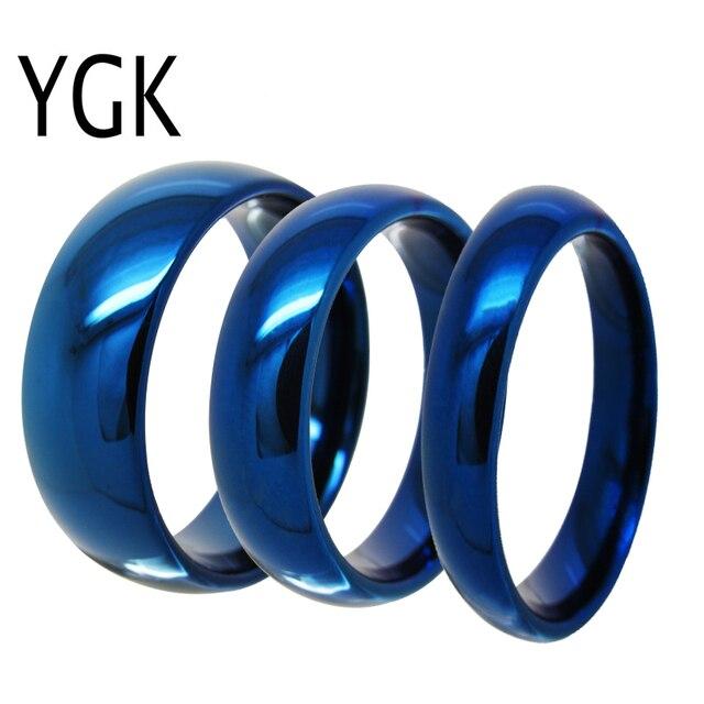 Ygk jóias 4mm/6mm/8mm cúpula azul anel de tungstênio clássico conforto ajuste design novo anel de presente de noivado de casamento masculino