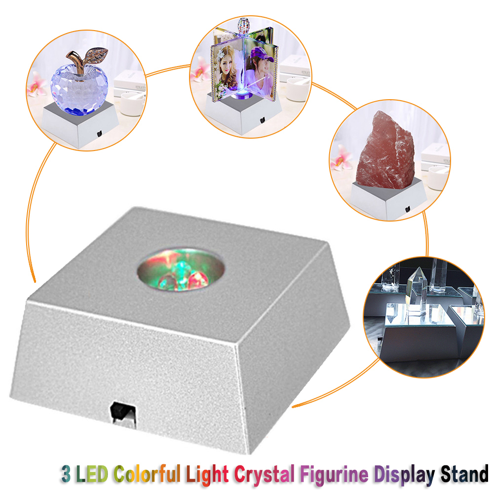 3 LED Light Crystal Figurine Display Stand Crystal Light Base Ornament YJ