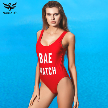 NAKIAEOI 2018 New One Piece Swimsuit Sexy Swimwear Women Bandage High Cut Bodysuit Backless Bathing Suit Swim Beach Red Monokini 1
