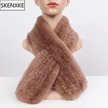 Nước Nga mới Mùa Đông Thực Rex Khoác Nỉ Tai Thỏ Nữ Mùa Đông Ấm 100% Tự Nhiên Rex Lông Thỏ Khăn Quàng Cổ Nữ Dệt Kim Thật bộ lông Mufflers