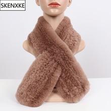 Neue Russland Winter Echte Rex Kaninchen Pelz Schal Frauen Winter Warme 100% Natürliche Rex Kaninchen Pelz Schals Dame Gestrickte Echt pelz Schalldämpfer