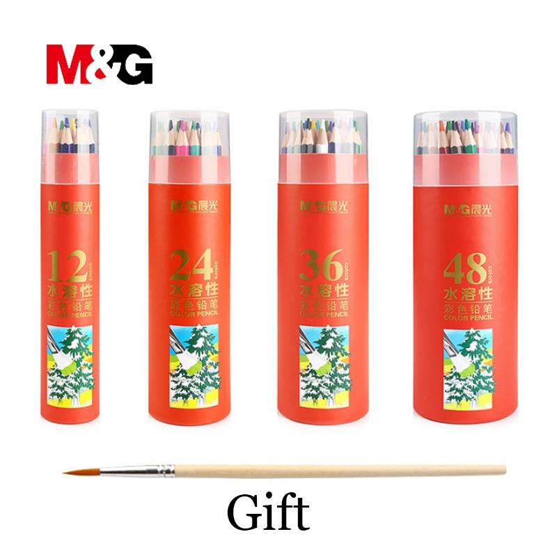 Акварельный карандаш M & G, канцелярские принадлежности 12/24/36/48 цветов, школьные принадлежности, цветные карандаши для рисования и офиса