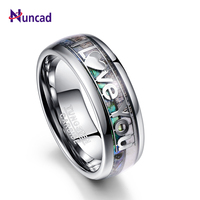 Nuncad 8mm Wide antler and shell Tungsten Steel Ring with lettering I Love You full size 7/8/9/10/11/12 T089R