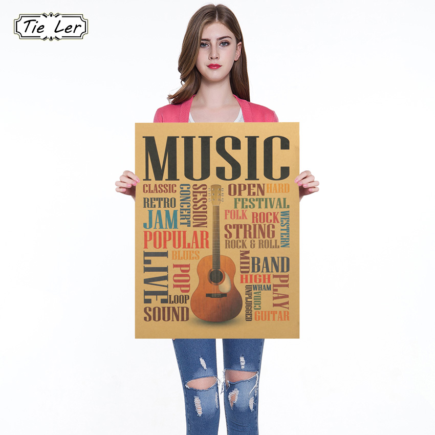 Music Guitar B Style Poster Vintage Kraft Paper Bar Club Bedroom Home Decor Wall Sticker