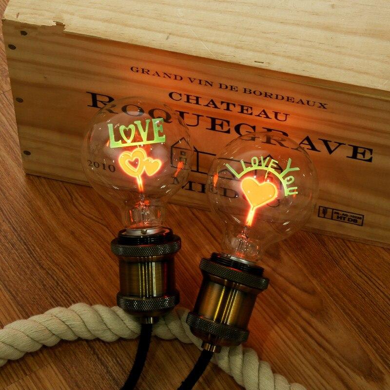 1 Stücke Edison Stil G80 E27 Filament Dekorative Glühbirnen Rose Liebe Blume Vintage Dekorative Lampe Urlaub Glühbirne Für Hause