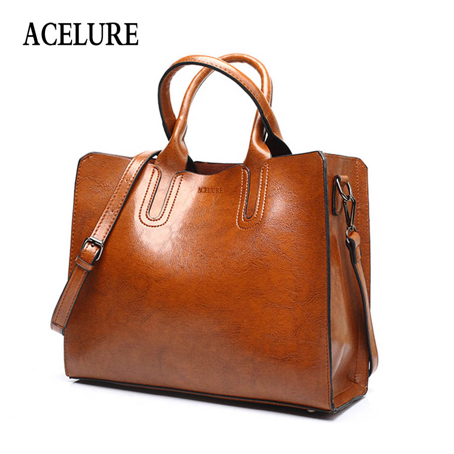 ACELURE Leather <font><b>Handbags</b></font> Big Women Bag High Quality Casual Female Bags Trunk Tote Spanish Brand Shoulder Bag Ladies Large Bolsos