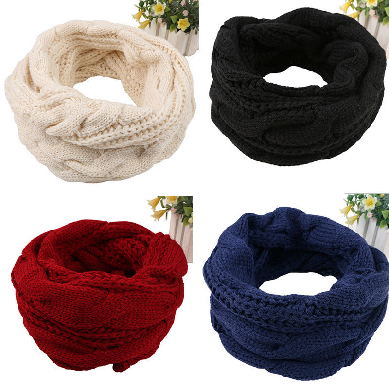 Men Winter Warm Long Knitted Cowl Neck Scarf Crochet Shawl Scarves