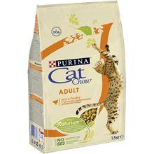 Сухой корм Cat Chow для взрослых кошек для взрослых кошек, с высоким содержанием домашней птицы, 1,5кг