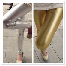 High Waist Gold Silver Sexy leather Metallic Punk Cotton Leggings Jeans  Free Shipping